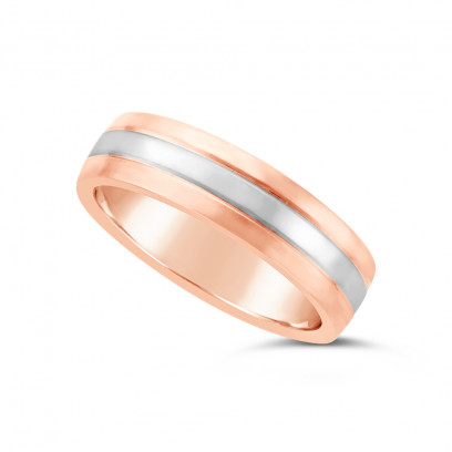Gents 18ct Rose Gold Heavy Weight Court Wedding Ring, With A 2.3mm 18ct White Gold Onlay, With A V Groove On Either Side Of The White Gold Band
